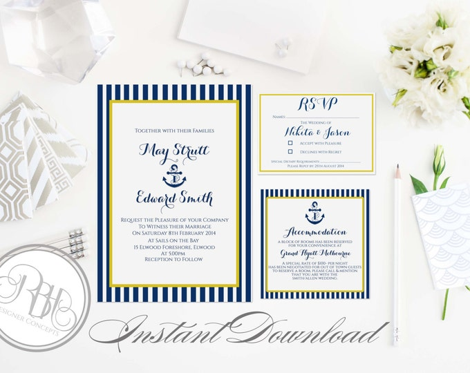 Nautical Invitation-Information Card-Reply Card-Templates-INSTANT DOWNLOAD-DIY Editable Text-Stripe-Boat Anchor-Xena Navy Yellow Package