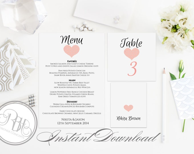 """Pink Heart Birthday Party Table Number, Place Card, Menu INSTANT DOWNLOAD-DIY Editable Text-Romantic Pink Heart """"Kylie Table Package"""""""