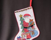 christmas stocking, hand made, cross stitch needlepoint, embroidery Christmas Stockings Sack Sock Filler Deer Snowflake Xmas Decor