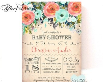 Coral and Mint Baby Shower Invitation Flower Floral Baby Shower Invite Baby Girl Shower Invite // Printable No.1295BABY