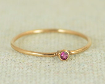 Tiny Ruby Ring, Ruby Stacking Ring, Rose Gold Filled Ruby Ring, Ruby Mothers Ring, July Birthstone, Ruby Ring, Dainty Ruby, Dainty Rose Gold