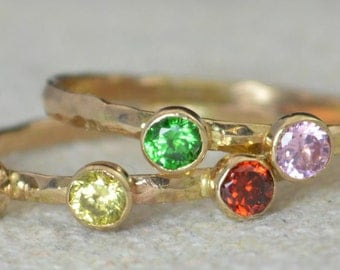 4 or 5 Stone Elegant Mother's Ring Set, 14k Gold Filled, Two bands, Mothers Rings, Birthstone Rings, Rustic Mothers Rings, Mothers Jewelry