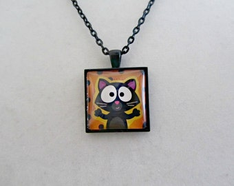 Black Cat Necklace, Halloween Necklace, Black Cat Pendant, Halloween Pendant, Halloween Jewelry, Cat Lover Necklace, Cat Jewelry, Gifts