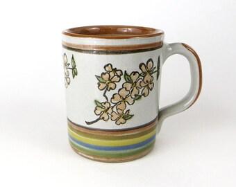 Vintage louisville stoneware mug - dogwood tree mug - vintage handpainted stoneware mug - vintage ceramic mug - korthage florist mug
