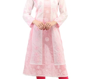 Pink  Ladies Tops Tunic Kurti Blouse  Indian Chikankari Hand Embroidery Georgette  handmade women's dresses  boho clothes  Multiple sizes