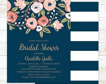 Bridal Shower Invitation Floral, Printable Bridal Shower Invitation, Navy Gold Bridal Shower Digital Invite, Boho Bridal Shower Invite