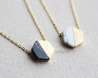 Hexagon necklace, Stone necklace, Geometric stone necklace, Howlite necklace, marble stone necklace, Bridesmaid gift, Wedding necklace