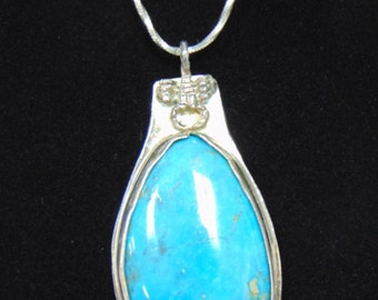 Lovely Vintage Estate Sterling Silver Necklace & Southwest Native American Turquoise Pendant 26.0g #E2165