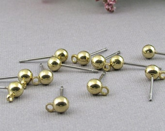 Ball Post Earrings with Loop, 4mm Gold Plated Stainless Steel Jewelry Findings, 24 pc S100