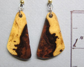 Small Desert Ironwood Dangle Earrings, Exotic Wood hypoallergenic wires handcrafted ExoticwoodJewelryAnd