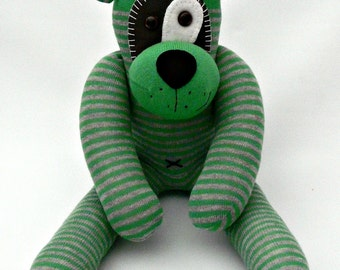 Beautiful handcrafted green and grey Stripe Sock Dog, from Nelly Blue Crafts... made and ready to post