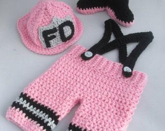 Newborn Baby Girl Handmade Crocheted 3 Piece Firefighter Outfit/New Baby Girl Set/ Newborn Photography Prop/Baby Shower Gift