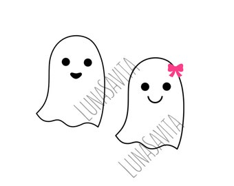Ghosts SVG, DXF Files for Cricut Design Space, Silhouette Studio, Die Cut, Instant Download of svg, dxf, & jpg, Ghost Girl, Ghost Boy