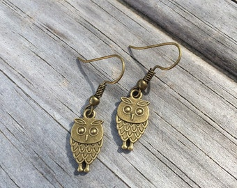 Owl Earrings, Bronze Owl Earrings, Charm Earrings