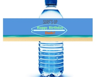 SURF THEME PARTY // surf's up party labels // water bottle party labels // Soda labels // beach birthday party // Surf Board party
