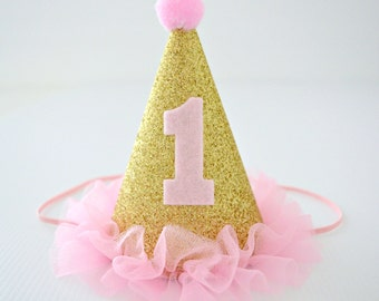 Pink & Gold Glitter 1st Birthday Mini Party Hat - Baby Girl - 1st Birthday Party, Cake Smash, Photo Prop - Glittery, Sparkly - Made to Order