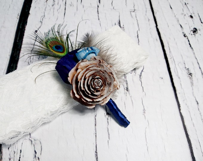 BOUTONNIERE / CORSAGE cedar rose dark blue turquoise sola flowers rustic wedding real PEACOCK feathers