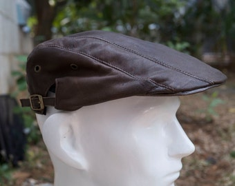 Gatsby cap newspaper boy hat handmade genuine leather vintage and antique looks