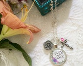 "24"" Charm Necklace * Hand-lettered & Illustrated Clothed in Christ Pendant *  Catholic Christian Jewelry"
