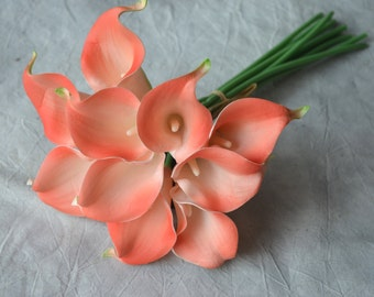 10 Coral Calla Lilies Real Touch Flowers DIY Wedding Bouquets Coral Silk Bridal Bouquets Wedding Centerpieces