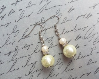 Pearl Dangle Earrings, Ivory and Pink Beaded Pearl Earrings, Vintage Style Jewelry, Silver Earrings, Beaded Jewelry, Handmade Jewelry