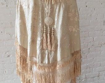 Antique Ivory Silk Embroidered Floral Fringe Vintage Shawl