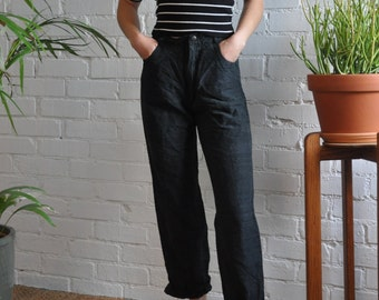 Vintage Charcoal Japanese Silk Pants