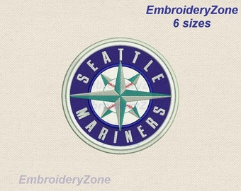 Logo Seattle Mariners  Applique Embroidery Design Emblem Baseball team MLB Seattle Mariners. 6 Sizes Hoop 4x4 5x7 6x10 7x11