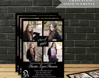 Graduation Photo Announcement or Invitation, Class of 2016,  5x7 - Digital File - Customized Background Color