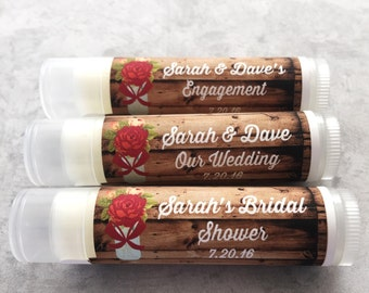 25Pc Rustic Red Vintage Blooms Wedding Party Favors/Wedding/Bridal/Lip Balm/Engagement Party Favors/Wedding Chapstick/Bridal Shower Favors