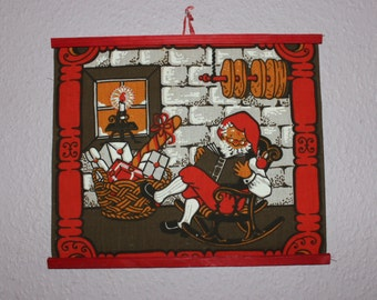 Nice vintage retro Christmas Wall hanging Tapestry with Santa and gifts. Made in Sweden Scandinavian