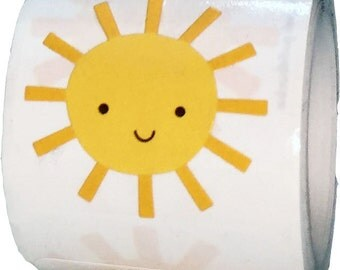 """Sunshine Stickers - Design By Doodlebug for Scrapbook or Envelope Seals - 1  1/8""""  Die Cut Shape Adhesive Summer Stickers"""