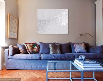 Silver Leaf and Grey Abstract Painting with High Gloss Resin 24x30