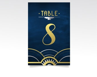 The ALICE . PRINTED 5 x 7 Table Numbers . Great Gatsby Wedding Gold & Black Silver Navy Art Deco waves 1920 . Double Sided Heavy Card Stock