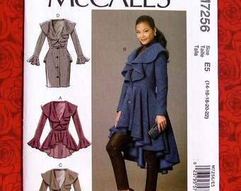 McCall's Sewing Pattern M7256 Coat, Peplum Ruffles Hi Lo Hemline, Misses' Plus Sizes 14 16 18 20 22, Romantic Lagenlook Fall Fashion, UNCUT