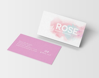 Rose watercolor double sided business card - Instant download