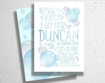 Bubble Birthday Invitation | Blue Bubbles Birthday Invite | Bubble Party Invitation | Blowing Bubbles Birthday invite |  DIGITAL FILE ONLY