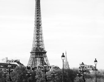 Paris black and white photography, Eiffel Tower, Paris photography, black and white photo,  architecture, Paris decor, fine art print