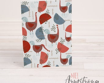 Any Occassion Greeting Card  - Roosters Illustration - A6