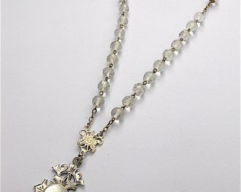 Antique French Rock Crystal and Sterling Silver Rosary Medal Necklace