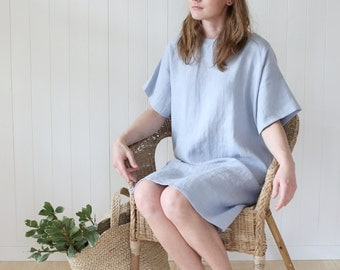 Wide and loose minimal linen dress. Washed soft linen tunica dress, oversized.