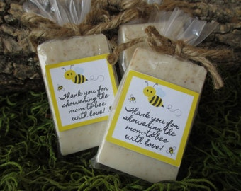 Baby Shower Favor Soap Mommy To Bee Baby Shower Oatmeal Honey Organic Soap Baby Shower Soap Baby Shower Bee Theme Mom To Bee Shower Favor