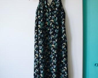 SALE 90s floral print halter maxi dress   L/XL
