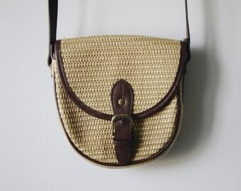 Vintage woven wicker crossbody purse