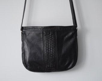 Vintage black leather crossbody bag