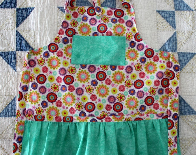HALF PRICE ** Feminine Boho Adjustable Girls Apron. Multi Color Floral Apron with Turqouise Bib and Ruffle. Matching Larger Apron Available