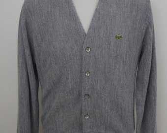 Vintage Izod Lacoste Gray Cardigan Sweater Alligator Sweater Size Small Made In USA