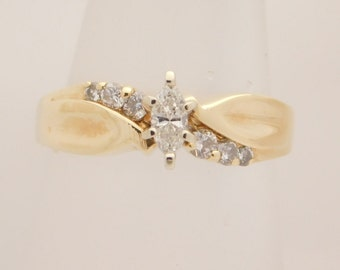 0.33 Carat T.W. Marquise & Round Cut Diamond Engagement Ring 14K