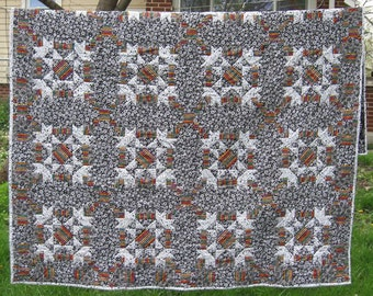 Handmade quilt -black, white and brights