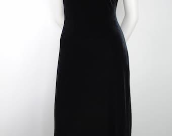 90's Black Velvet Long Dress - XS - Paris Sport Club